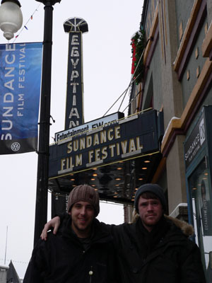 Morgan Gross and Ben Piety in front of the Egyptian Theatre - Sundance Film Festival